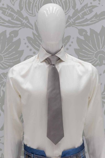 Light blue grey dandy tie glamour men's suit light blue grey 100% made in Italy by Cleofe Finati