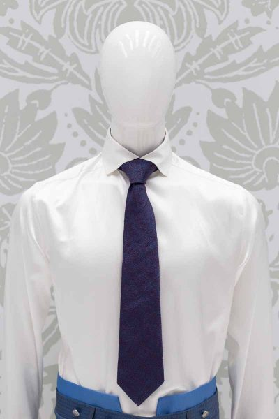 Metal blue burgundy tie classic blue sky wedding suit 100% made in Italy by Cleofe Finati
