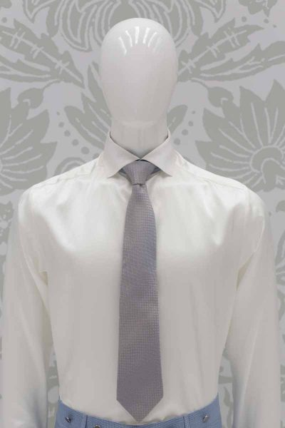 Beige blue tie classic dusty blue wedding suit 100% made in Italy by Cleofe Finati