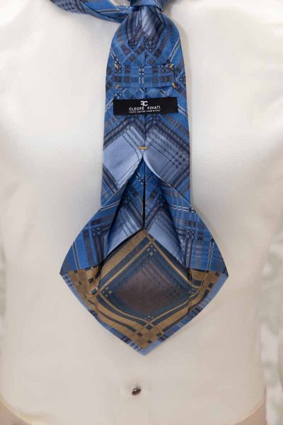 Light blue gold and blue seven fold tie glamour men's suit tartan gold havana 100% made in Italy by Cleofe Finati