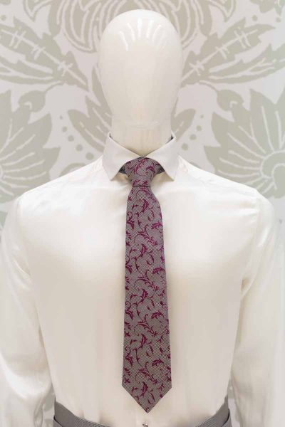 Burgundy and sky blue dandy tie grey glamour made in Italy men's suit 100% by Cleofe Finati