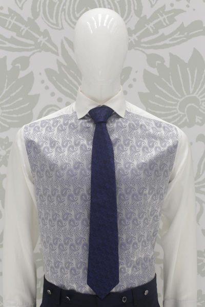 Cravatta blu nero abito da sposo classico blu nero made in Italy 100% by Cleofe Finati