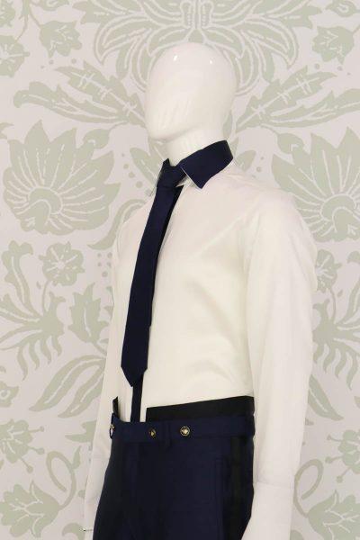 Cravatta dandy blu notte abito da uomo glamour blu e nero made in Italy 100% by Cleofe Finati