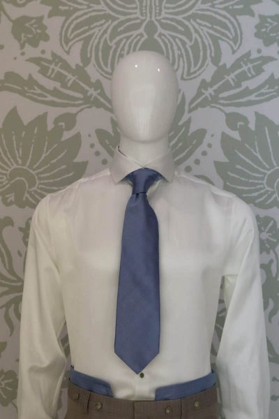Dandy light blue and beige Ascot glamour men's suit white light blue 100% made in Italy by Cleofe Finati
