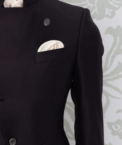 Milk white pocketchief fashion black wedding suit 100% made in Italy by Cleofe Finati