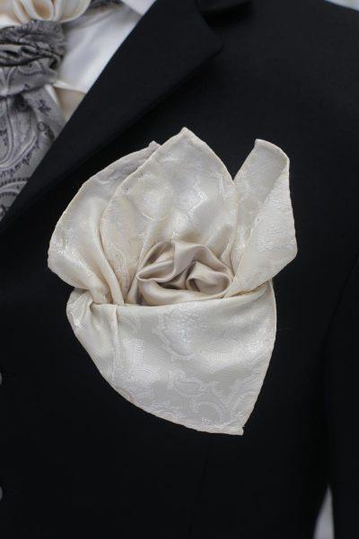 Doppio fazzoletto pochette panna grigio abito da sposo marsina nero made in Italy 100% by Cleofe Finati