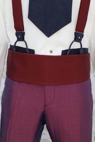Cintura fascia in tessuto bordeaux abito da uomo glamour bordeaux blu made in Italy 100% by Cleofe Finati