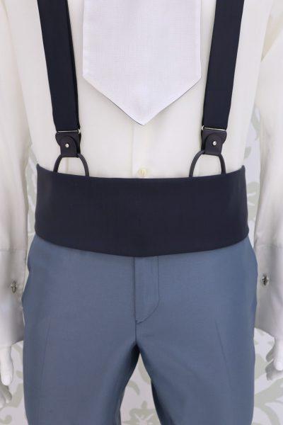 Cintura fascia in tessuto sabbia rosato abito da sposo fashion azzurro serenity made in Italy 100% by Cleofe Finati