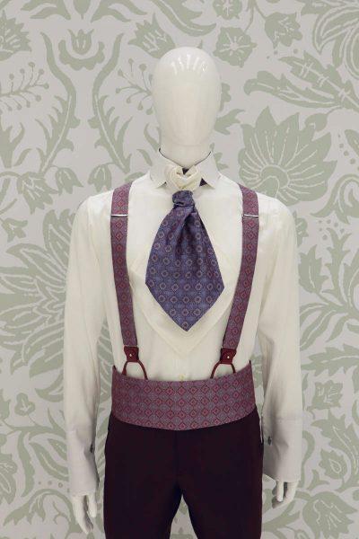 Cintura fascia in tessuto bordeaux rosa azzurro abito da sposo fashion bordeaux made in Italy 100% by Cleofe Finati