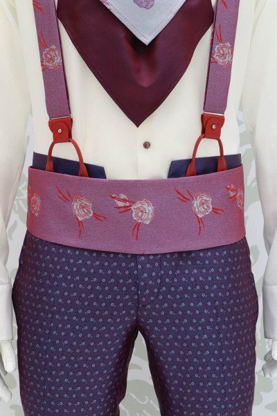 Cintura fascia in tessuto rosso blu abito da uomo glamour blu  bordeaux made in Italy 100% by Cleofe Finati