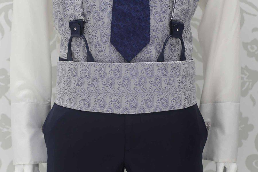 Cintura fascia in tessuto silver abito da sposo classico blu navy made in Italy 100% by Cleofe Finati