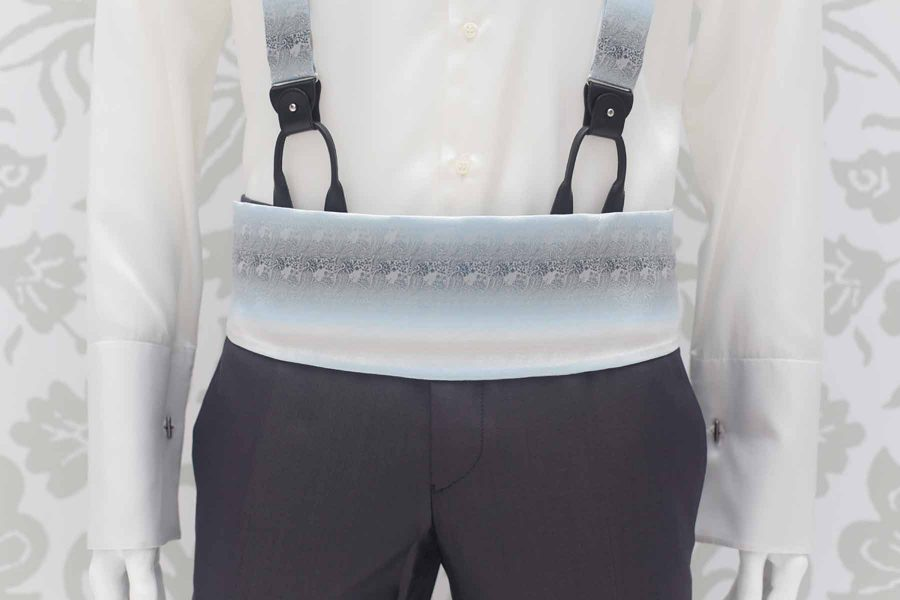 Grey blue fabric belt fashion wedding suit cloud grey 100% made in Italy by Cleofe Finati