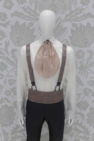 Gold brown fabric band belt fashion grey wedding suit 100% made in Italy by Cleofe Finati