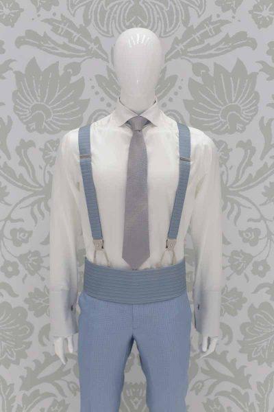 Cintura fascia in tessuto blu bianco abito da sposo classico azzurro polveroso made in Italy 100% by Cleofe Finati