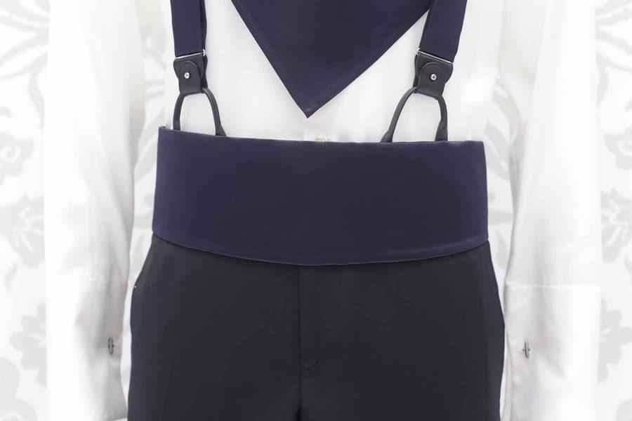 Cintura fascia in tessuto nero abito da sposo classico linea marsina in broccato nero made in Italy 100% by Cleofe Finati