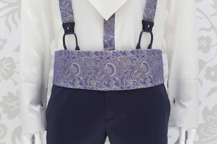 Cintura fascia in tessuto azzurro ceruleo abito da sposo classico azzurro serenity polveroso made in Italy 100% by Cleofe Finati