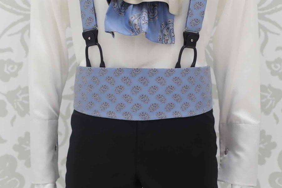 Cintura fascia in tessuto celeste abito da sposo fashion nero made in Italy 100% by Cleofe Finati