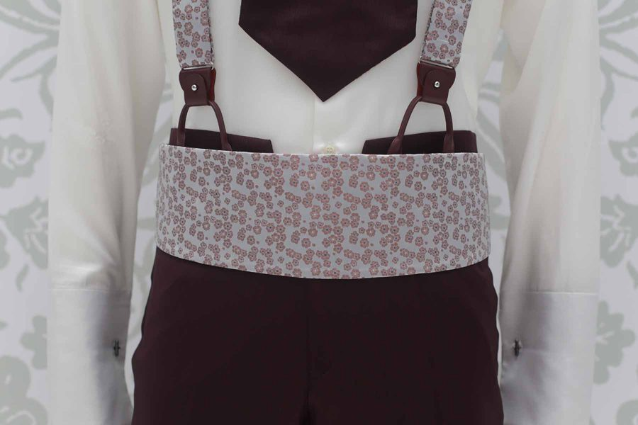 Silver fabric band belt fashion burgundy wedding suit 100% made in Italy by Cleofe Finati
