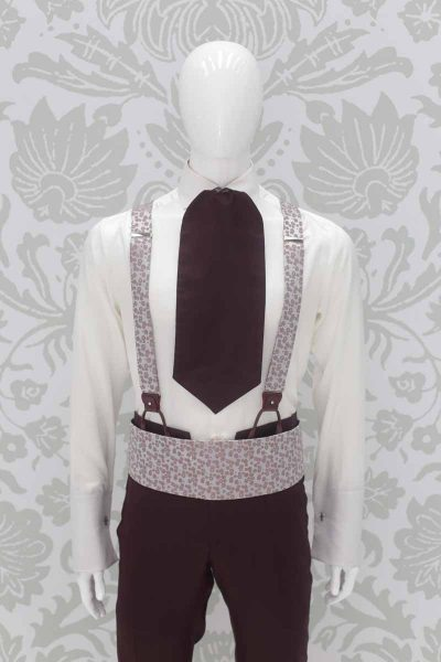 Rosé silver Ascot fashion wedding suit burgundy 100% made in Italy by Cleofe Finati