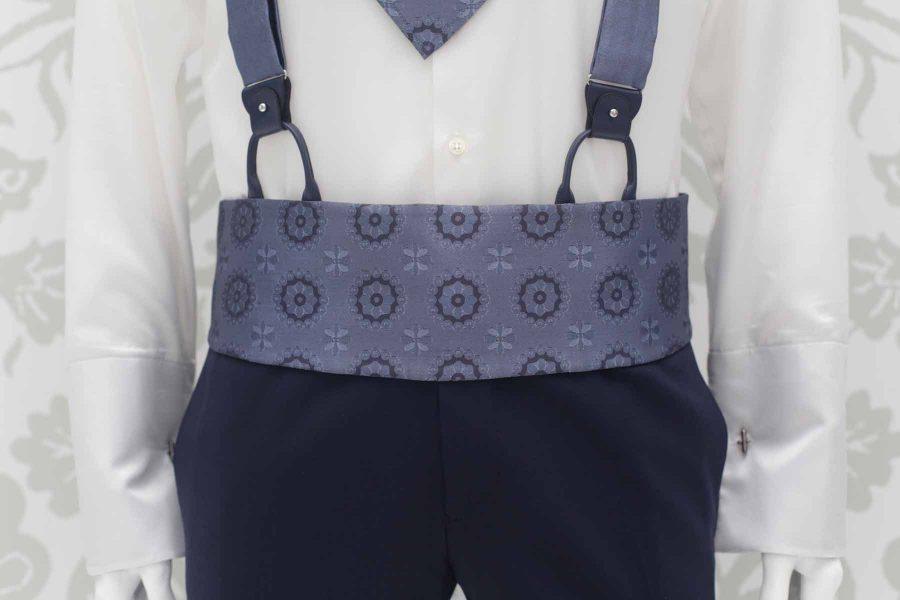 Cintura fascia in tessuto blu metallo abito da sposo classico blu notte made in Italy 100% by Cleofe Finati