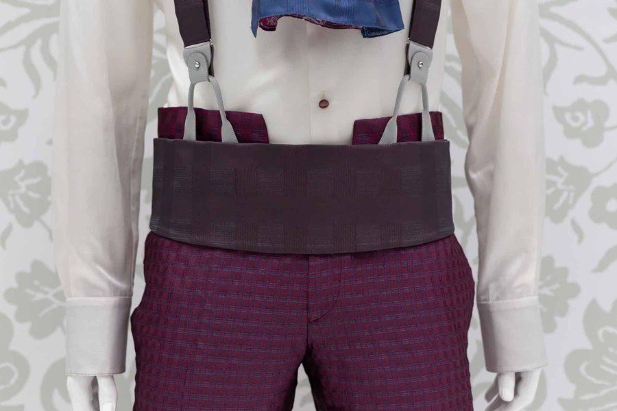 Cintura fascia in tessuto marrone abito da uomo glamour rosso bordeaux bordò made in Italy 100% by Cleofe Finati