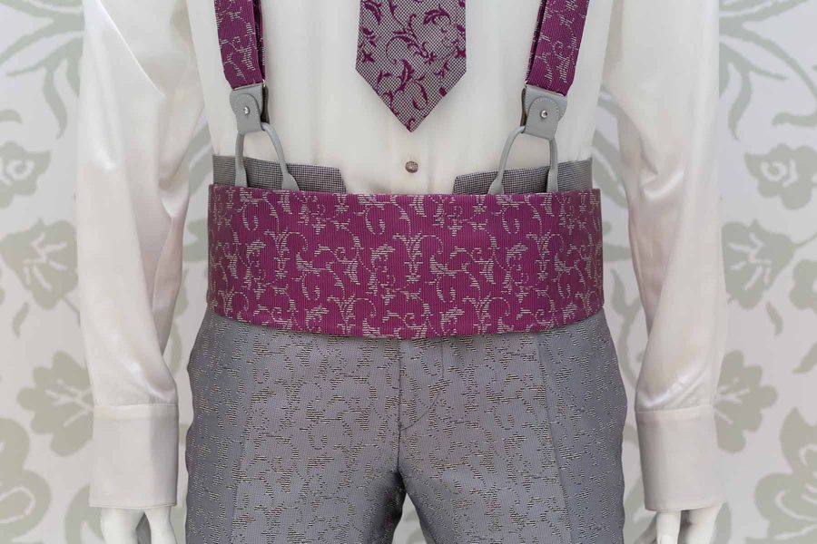 Glamorous luxury men's suit in micro hound's tooth 100% made in Italy by Cleofe Finati