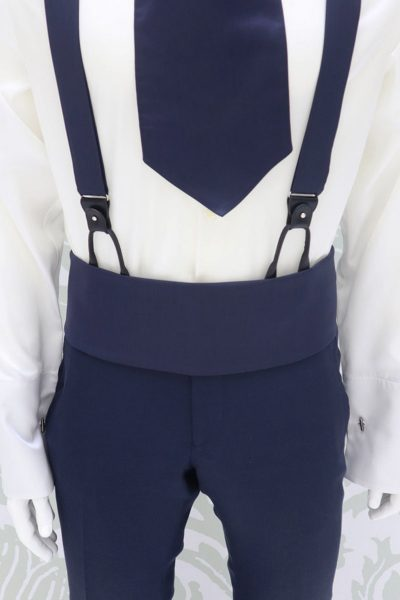 Blue white fabric belt fashion wedding suit lightning blue 100% made in Italy by Cleofe Finati