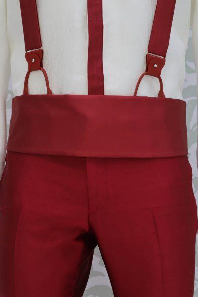 Cintura fascia in tessuto rosso abito da uomo glamour rosso made in Italy 100% by Cleofe Finati