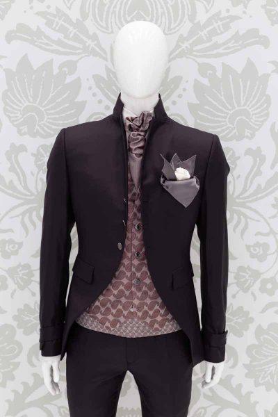 Doppio fazzoletto pochette grigio bianco abito da sposo fashion marrone made in Italy 100% by Cleofe Finati
