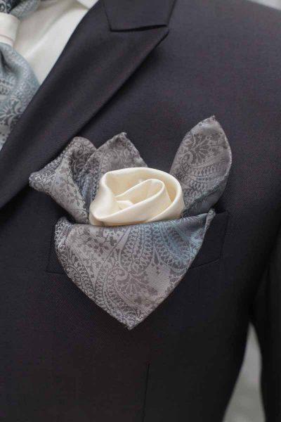Doppio fazzoletto pochette bianco azzurro abito da sposo fashion grigio nuvola made in Italy 100% by Cleofe Finati