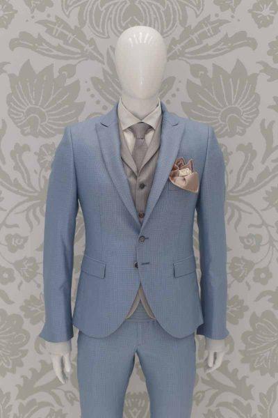 Doppio fazzoletto pochette beige dorato e bianco abito da sposo classico azzurro polveroso made in Italy 100% by Cleofe Finati