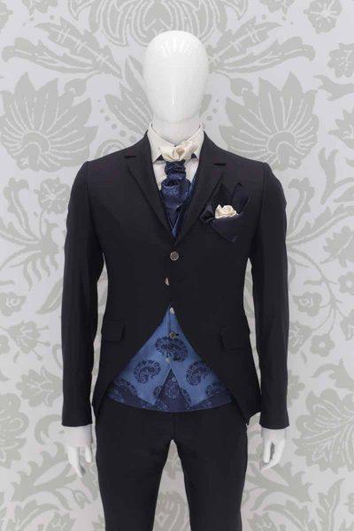 Doppio fazzoletto pochette bianco nero abito da sposo fashion blu notte made in Italy 100% by Cleofe Finati