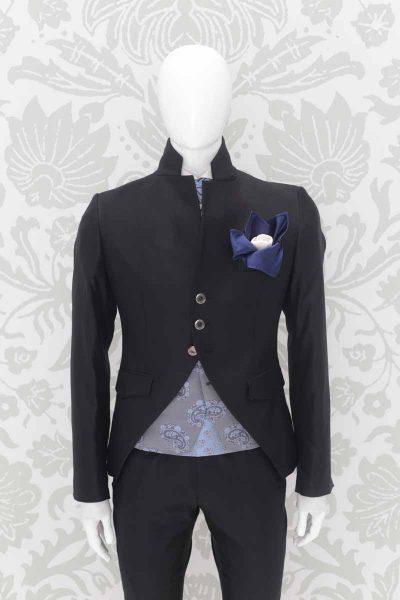 Doppio fazzoletto pochette bianco blu abito da sposo fashion nero made in Italy 100% by Cleofe Finati