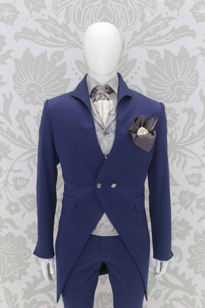 Double pocketchief white grey classic lightning blue wedding suit 100% made in Italy by Cleofe Finati