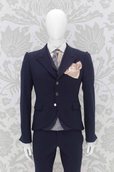 Double pocketchief white gold fashion wedding suit lightning blue 100% made in Italy by Cleofe Finati