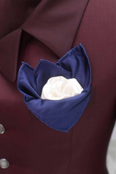 Doppio fazzoletto pochette bianco ottico e blu abito da sposo fashion bordeaux made in Italy 100% by Cleofe Finati