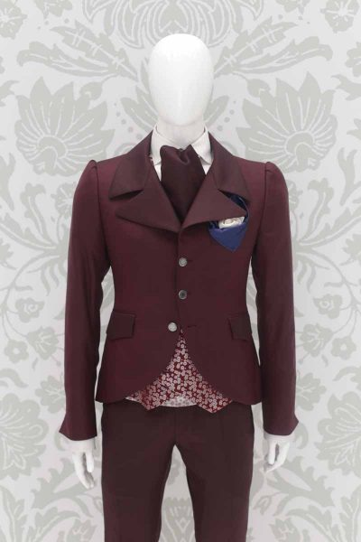 Double pocketchief optical white and blue fashion wedding suit burgundy 100% made in Italy by Cleofe Finati
