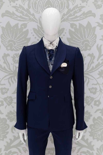 Double pocketchief white midnight blue fashion wedding suit lightning blue 100% made in Italy    by Cleofe Finati