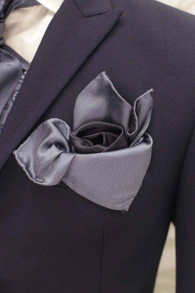Doppio fazzoletto pochette blu metallo e nero abito da sposo classico blu notte made in Italy 100% by Cleofe Finati