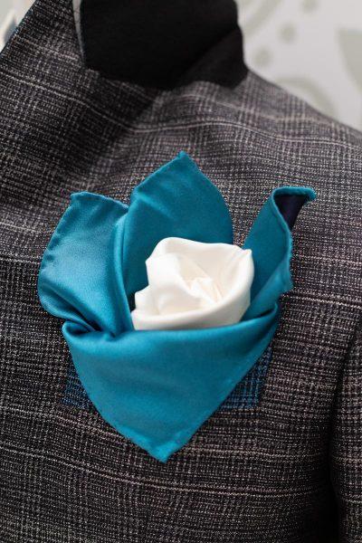 Doppio fazzoletto pochette bianco azzurro abito da uomo glamour blu nero made in Italy 100% by Cleofe Finati