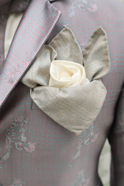 Doppio fazzoletto pochette salvia bianco ottico abito da uomo glamour rosa e salvia made in Italy 100% by Cleofe Finati