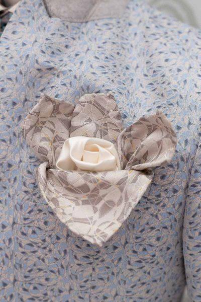 Abito da uomo glamour lusso bianco azzurro made in Italy 100% by Cleofe Finati