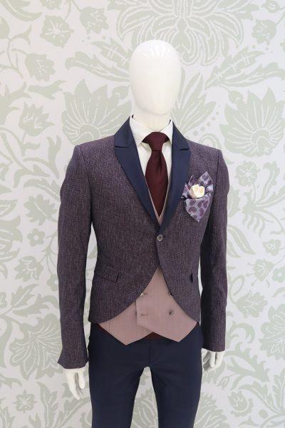 Giacca abito da sposo fashion blu bordeaux made in Italy 100% by Cleofe Finati
