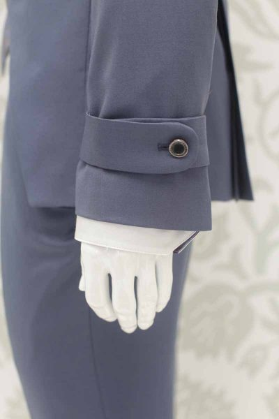 Wedding suit fashion jacket serenity blue 100% made in Italy by Cleofe Finati