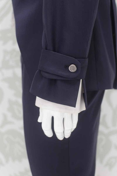 Fashion navy blue wedding suit jacket 100% made in Italy by Cleofe Finati