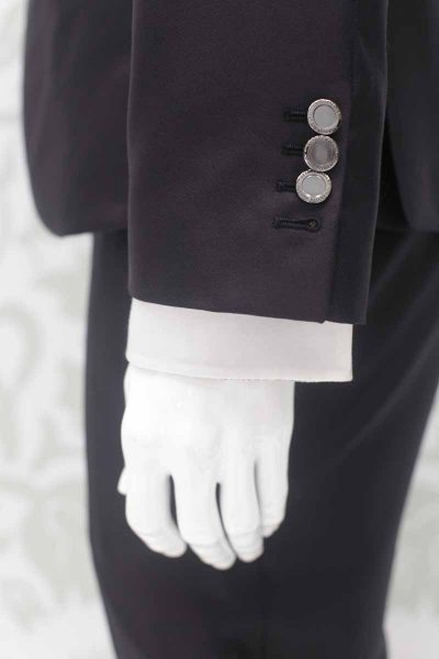Classic midnight blue wedding suit jacket 100% made in Italy by Cleofe Finati