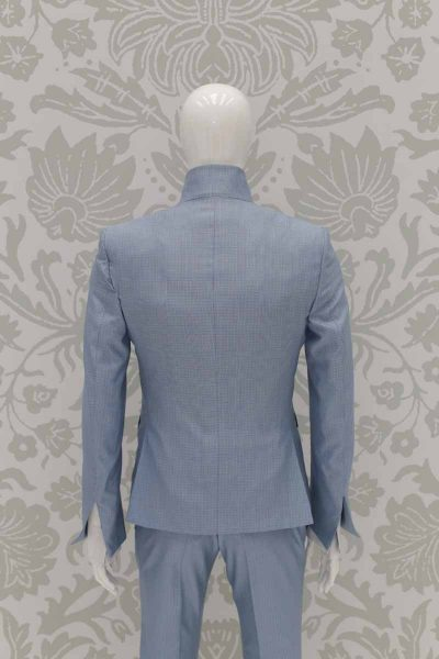 Classic dusty blue wedding suit jacket 100% made in Italy by Cleofe Finati