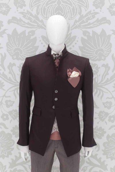 Burgundy fashion wedding suit 100% made in Italy by Cleofe Finati