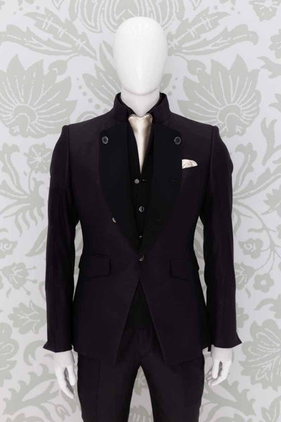 Black fashion wedding suit 100% made in Italy by Cleofe Finati