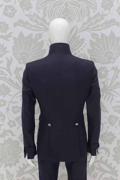 Blue midnight fashion wedding suit jacket 100% made in Italy by Cleofe Finati